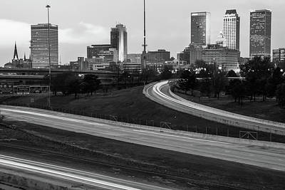 Photograph - Downtown Tulsa Oklahoma With Passing Traffic Black And White by Gregory Ballos