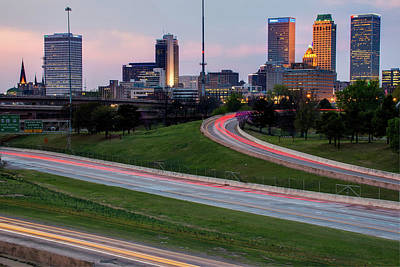 Photograph - Downtown Tulsa Oklahoma With Passing Traffic  by Gregory Ballos