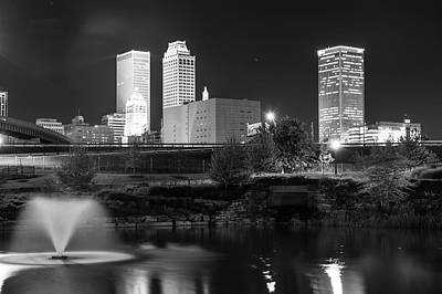 Photograph - Downtown Tulsa Skyline Ghosts - Black And White by Gregory Ballos