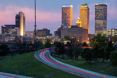 Print featuring the photograph Downtown Tulsa Skyline On The Freeway  by Gregory Ballos