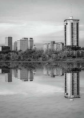 Sunrise Photograph - Downtown Tulsa Skyline Reflections In Black And White - Oklahoma Art by Gregory Ballos