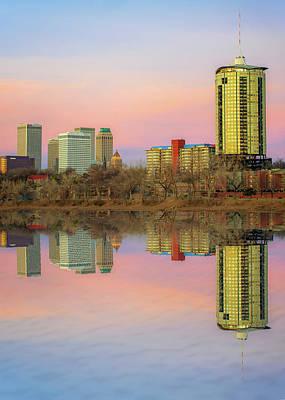 Photograph - Downtown Tulsa Skyline Reflections - Oklahoma Art by Gregory Ballos