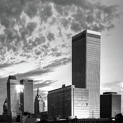 Print featuring the photograph Downtown Tulsa Skyline Squared In Black And White by Gregory Ballos
