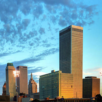 Print featuring the photograph Downtown Tulsa Skyline Squared In Color by Gregory Ballos
