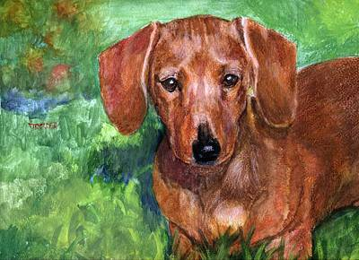 Dachshund Mixed Media - Doxy Down The Street by Jimmie Trotter