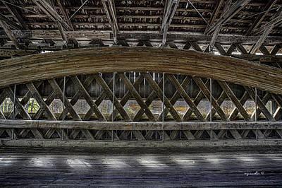 Everett Rd. Covered Bridge Photograph - Doyle Rd Covered Bridge Interior by Michael Rankin