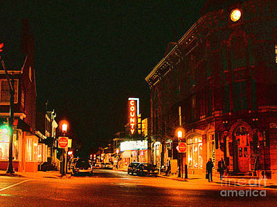 Doylestown-county Theater At Night Art Print by Addie Hocynec