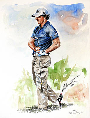 Golf Art Painting - @dpwtc Rory Mcilroy 2012 Watercolor by Mark Robinson