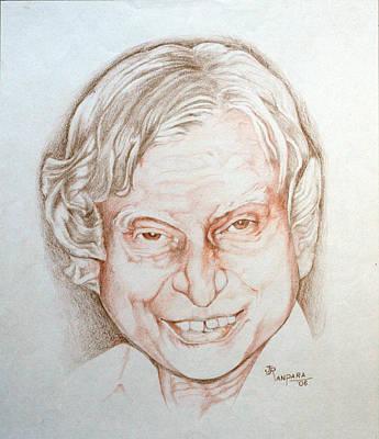 Kalam Painting - Dr Apj Abdul Kalam by Jayantilal Ranpara