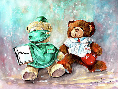 Painting - Dr Bear And Dr Bear by Miki De Goodaboom