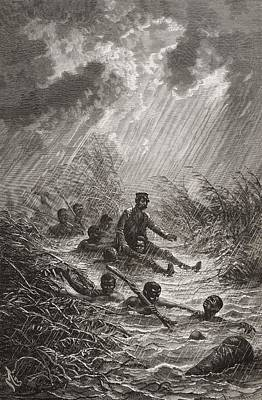 Rain Drawing - Dr. David Livingstone Being Carried by Vintage Design Pics