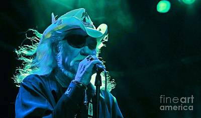 Listening Digital Art - Dr. Hook Performance In Blue by John Malone