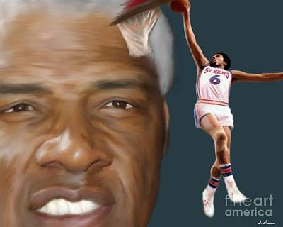 Dr. J Painting - Dr J Now And Then by Jack Bunds