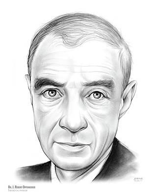 Physics Drawing - Dr. J. Robert Oppenheimer by Greg Joens