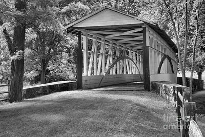 Photograph - Dr. Kinsely Covered Bridge Lush Landscape Black And White by Adam Jewell