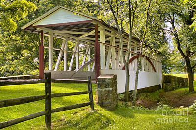 Photograph - Dr. Kinsley Covered Bridge In The Forest by Adam Jewell