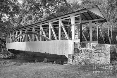 Photograph - Dr. Kinsley Covered Bridge Over Dunning Creek Black And White by Adam Jewell