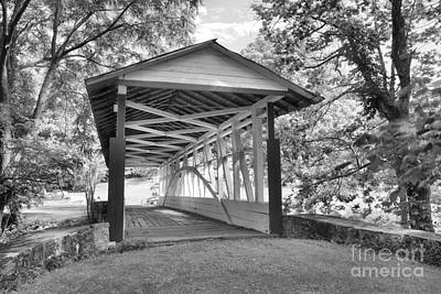 Photograph - Dr. Knisely Covered Bridge Black And White by Adam Jewell