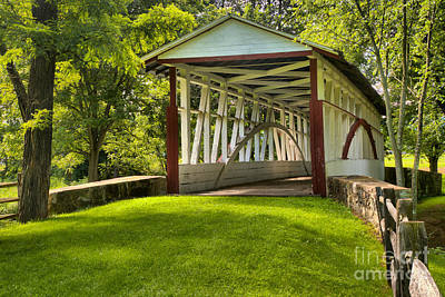 Photograph - Dr. Knisely Covered Bridge Lush Landscape by Adam Jewell