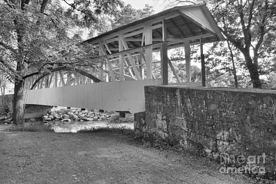 Photograph - Dr, Knisley Covered Bridge Landscape Black And White by Adam Jewell