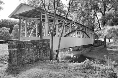 Photograph - Dr. Knisley Covered Bridge Of Bedford Pa Black And White by Adam Jewell