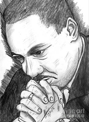 Martin Luther King Drawing - Dr Martin Luther King Jr  by Collin A Clarke
