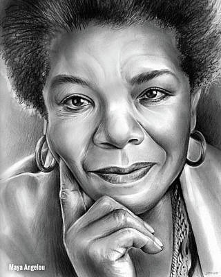 Civil Rights Drawing - Dr Maya Angelou by Greg Joens