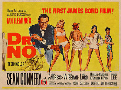 Sean Connery Mixed Media - Dr No James Bond Sean Connery Vintage Movie Poster by Design Turnpike