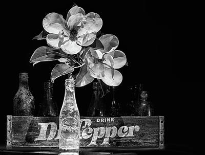 Photograph - Dr Pepper And Magnolia Still Life Black And White by JC Findley