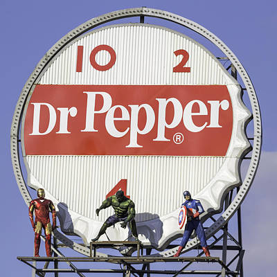 Dr Pepper And The Avengers Squared Art Print by Keith Mucha