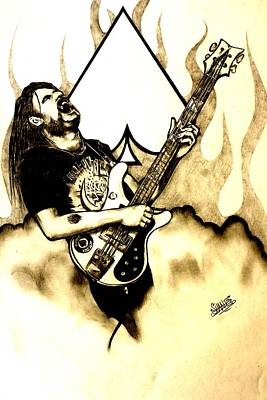 Heavy Metal Drawing - Dr Rock A Tribute To Lemmy by Sam Hane