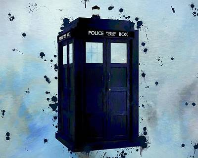 Dr. Who Wall Art - Painting - Dr Who Police Box by Dan Sproul