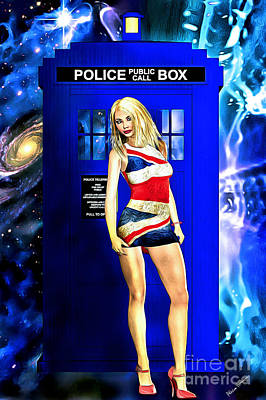 Mixed Media - Doctor Who - Tardis And Rose Tyler by Alicia Hollinger