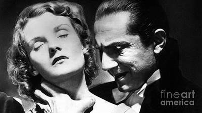 Photograph - Dracula Bela Lugosi Bites Lady by R Muirhead Art