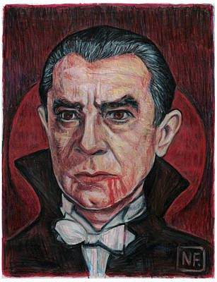 Dracula Drawing - Dracula Blood Moon Rising by Neil Feigeles