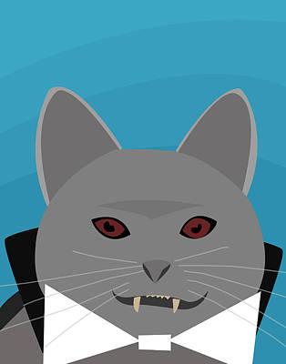 Kitty Digital Art - Dracula Cat by Pati Photography