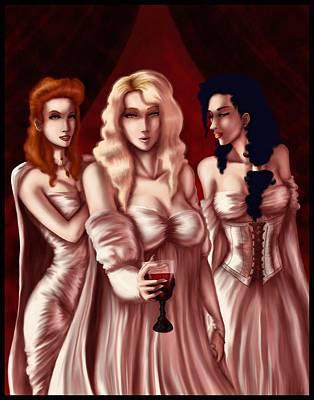 Dracula Digital Art - Dracula's Brides by Jessica Gaude