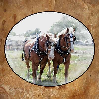 Digital Art - Draft Horse Duo by Kae Cheatham