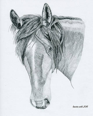 Mare Drawing - Draft Horse Mare by Laurie With