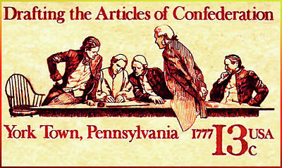 Bicentennial Painting - Drafting The Articles Of Confederation Stamp by Lanjee Chee