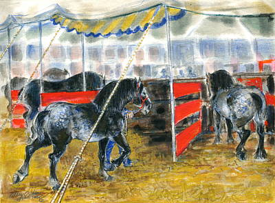 Art Print featuring the painting Drafts At The Fair by Mary Armstrong