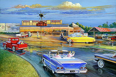 Painting - Dragging The Circle - Hub Diner by Randy Welborn