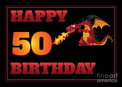 Digital Art - Dragon 50th Birthday by JH Designs