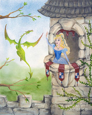 Painting - Dragon Above The Castle Wall by Cathy Cleveland