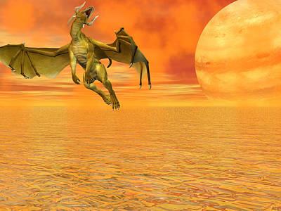 Dragon Against The Orange Sky Original