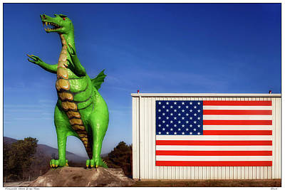 Photograph - Dragon And American Flag by Gary Warnimont