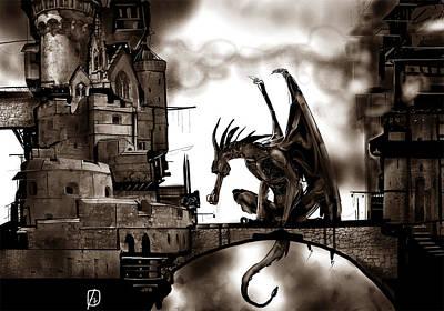 Digital Art - Dragon And Castle by Fabrizio Uffreduzzi