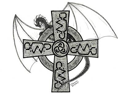 Celtic Cross Drawing - Dragon And Celtic Cross by Donna Forsyth