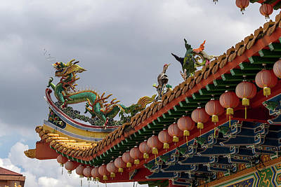 Coy Fish Michael Creese Paintings - Dragon and Crane Sculpture on Chinese Temple Roof by Jit Lim