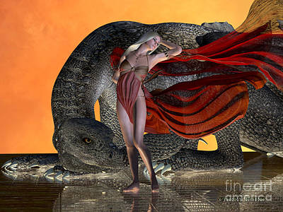 Dragon And Fairy Print by Corey Ford